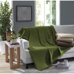 Manta Para Sillón Verde 120x150 Pies De La Cama 100% Algodón