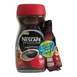 Cafe Nescafé Tradicion 200 Gramos Soluble Instantaneo rinde mas de 133 tazas.