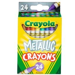 24 Crayolas Metálicas Fuertes y Brillantes No Toxica Seguras
